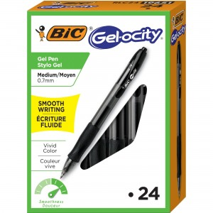 BIC Gel-ocity Gel Black Medium Refillable Pens - 24/Box