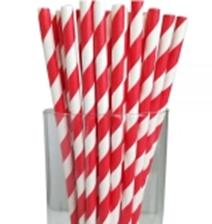 "7.75"" Jumbo Regular Red Striped Paper Straws"