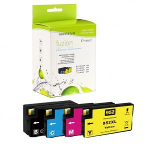 Fuzion New Compatible Combo Pack (Black, Cyan, Magenta, Yellow) Ink Cartridge for HP #952XL or 956XL