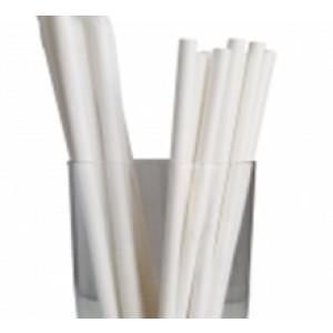 "7.75"" Jumbo White Wrapped Paper Straws"