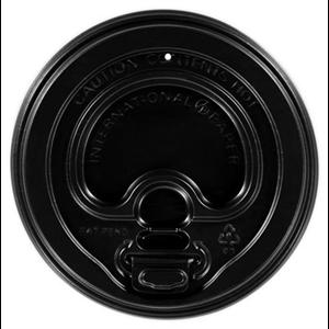 Hot Beverage Black Dome Lids with Sip Cover - 10/20 oz.- 50 lids