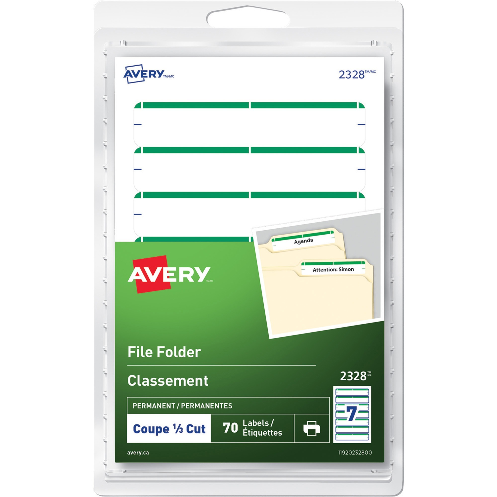 Avery® Print or Write File Folder Labels - 10 sheets - 70/pack