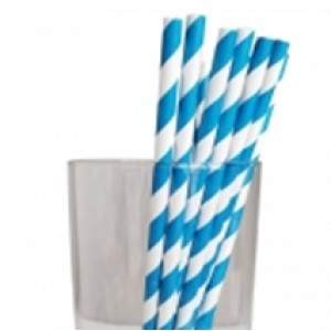 "7.75"" Jumbo Regular Blue Sriped Paper Straws"