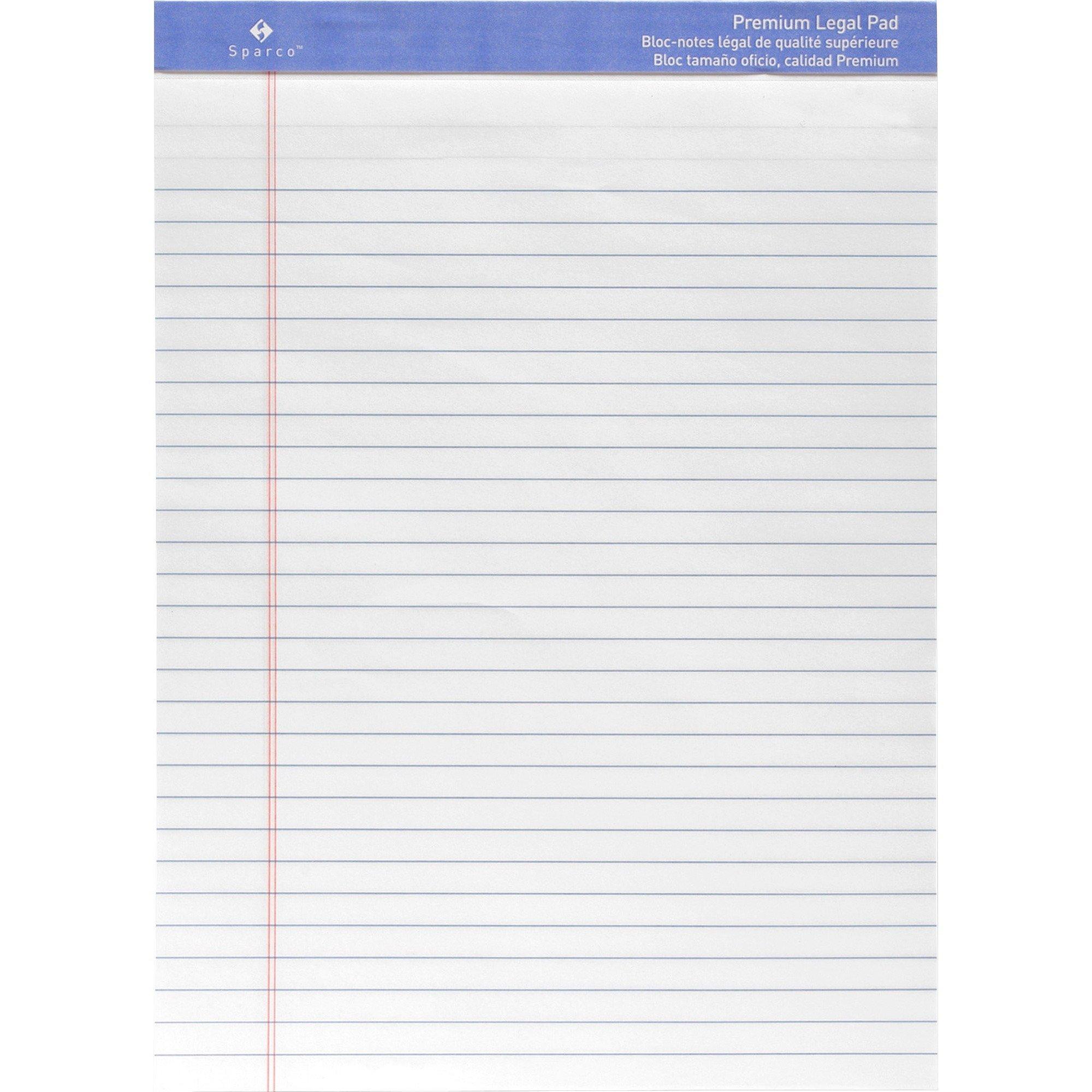 Sparco Premium-grade Letter Size Legal Pad - 50 Sheets