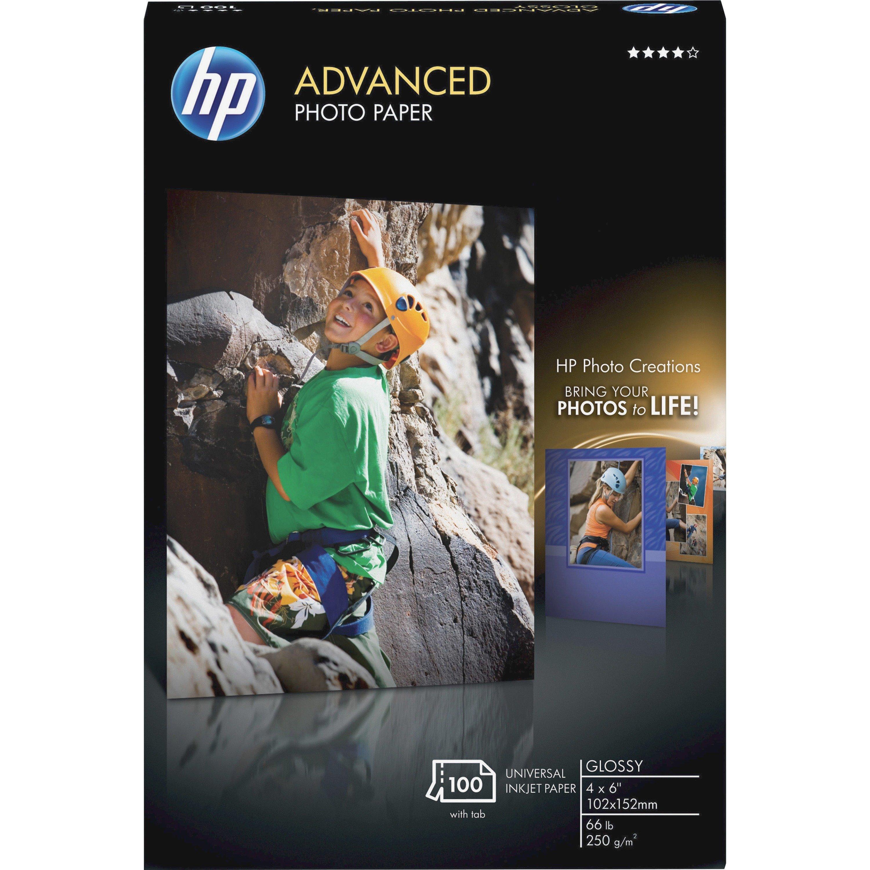 "HP Advanced Photo Paper, Glossy, 4"" x 6"", 100/Pack"