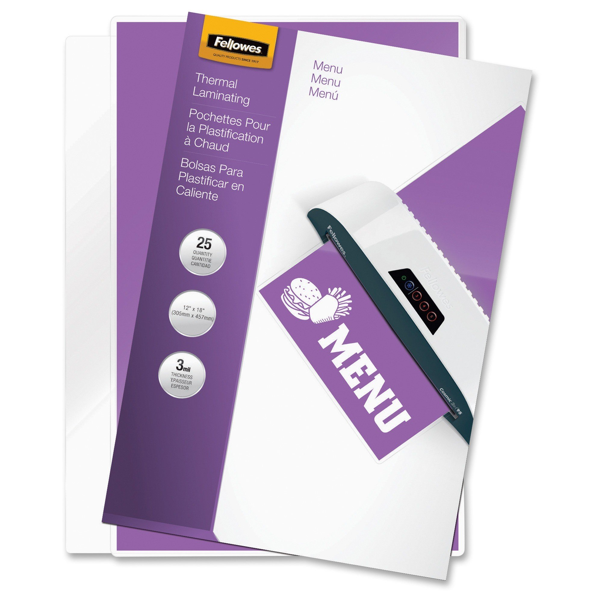 Fellowes 3 mil Laminating Menu Sheets/Pouches 11.50 x 17.50""