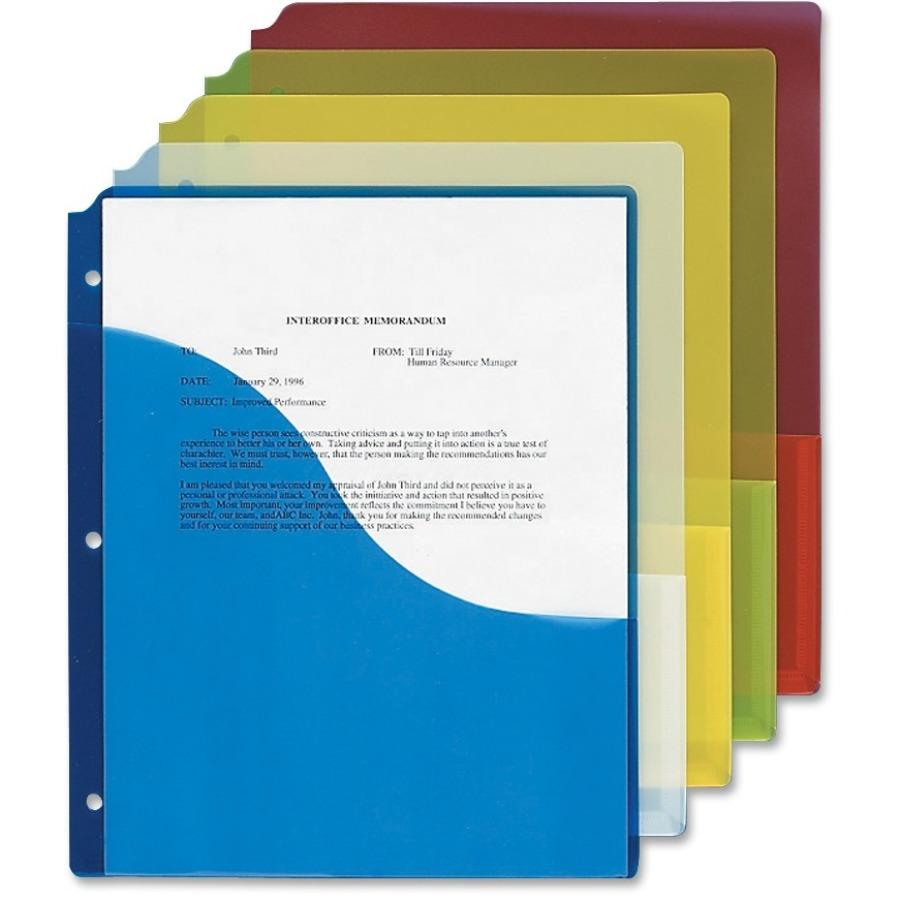 Pendaflex Pocket Report Cover Assorted Folders - 5/Pack