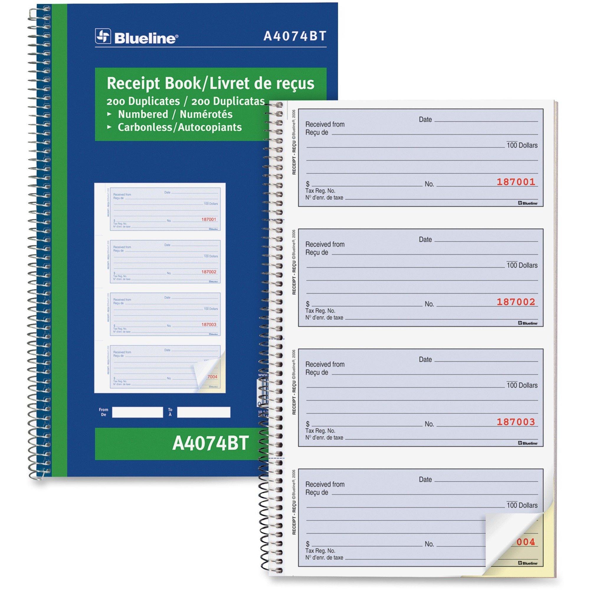 Blueline Bilingual Receipt Book - 2 part Carbon Copy