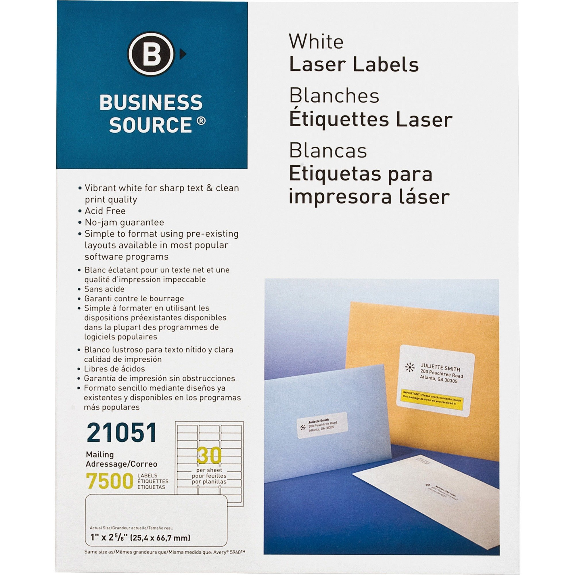 """Business Source White Mailing Labels for Printers, 2-5/8"""" x 1"""", 7,500/Pack"""