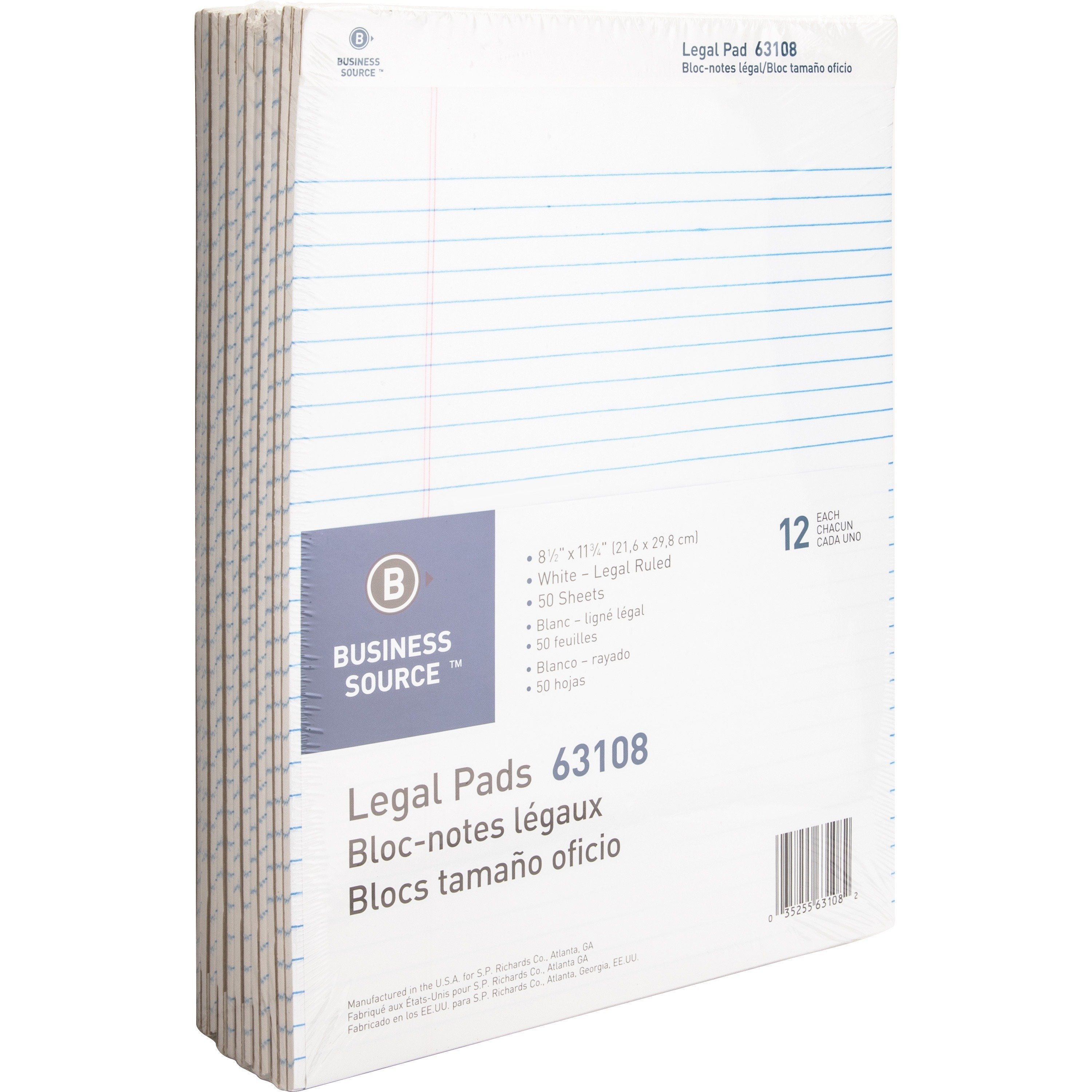Business Source Micro-Perforated 8.5 x 11.75 Ruled Pads - 12/Pack
