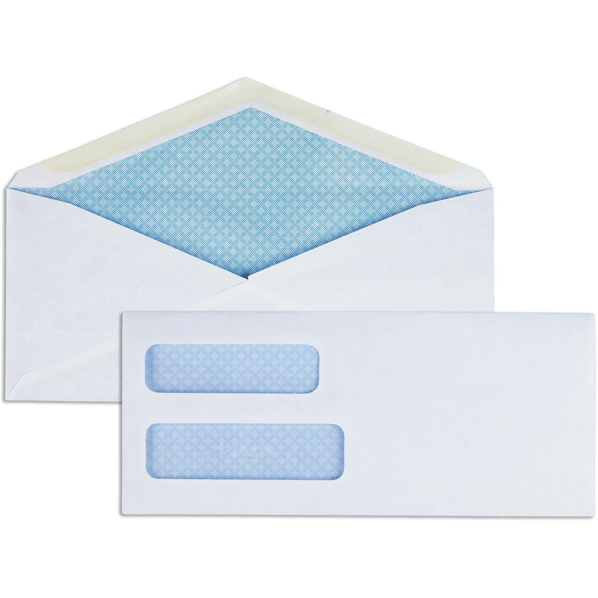 Business Source #9 Double Window Gummed Invoice Envelopes - 500/Pack