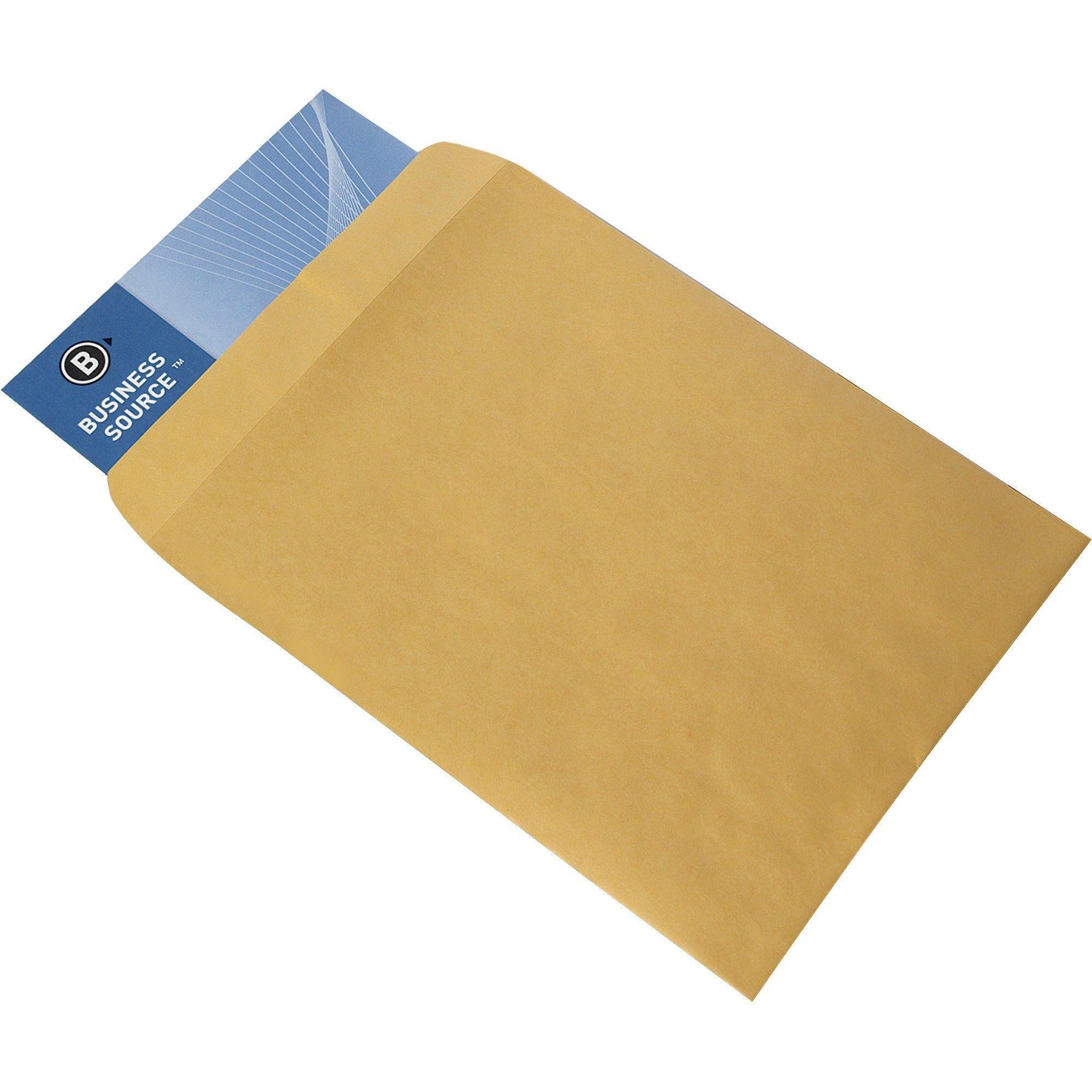 "Business Source 9"" x 12"" Kraft Gummed Catalog Envelopes - 250/Box"