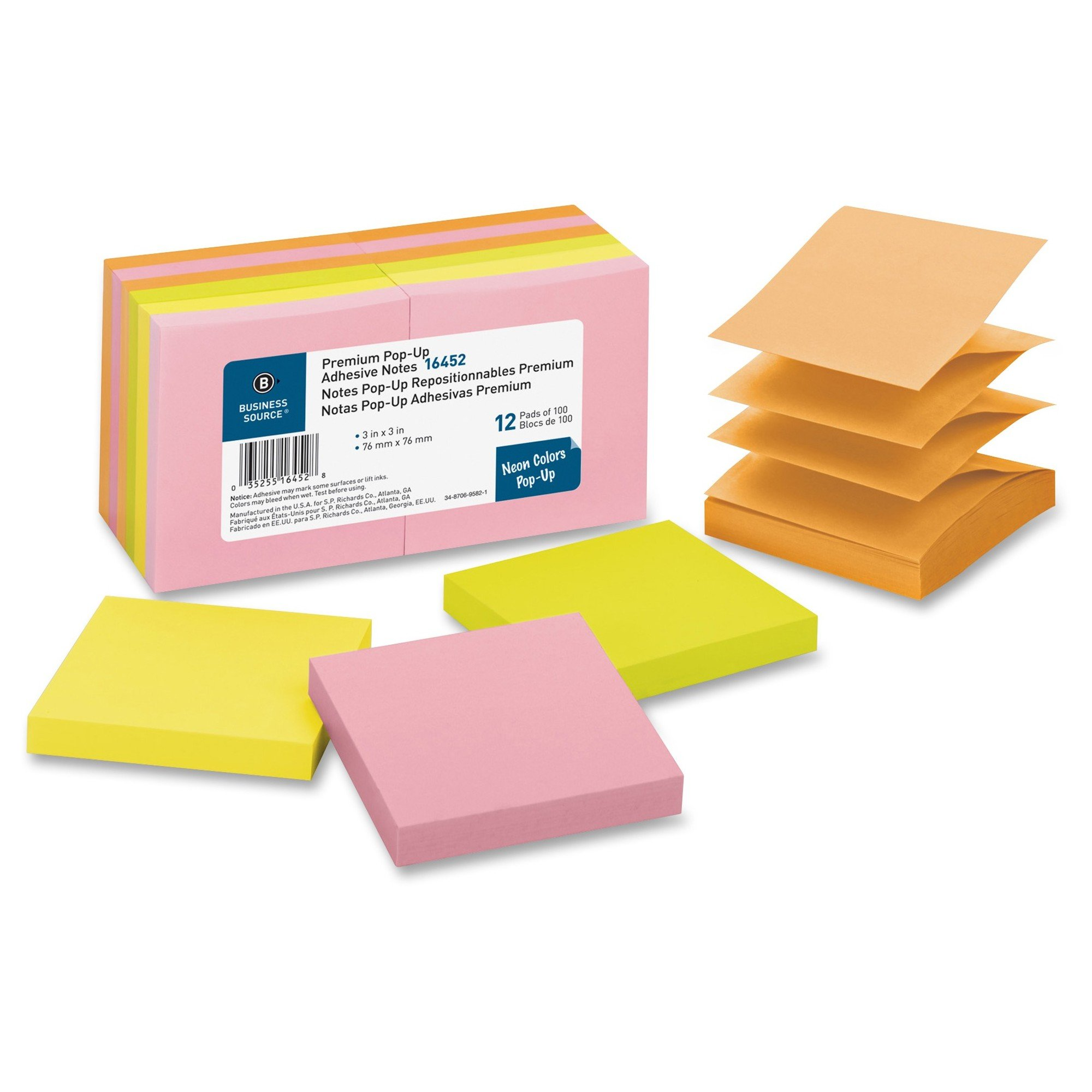 "Business Source (Accordion) Reposition Pop-up Adhesive Notes 3"" x 3"" 12/Pack"