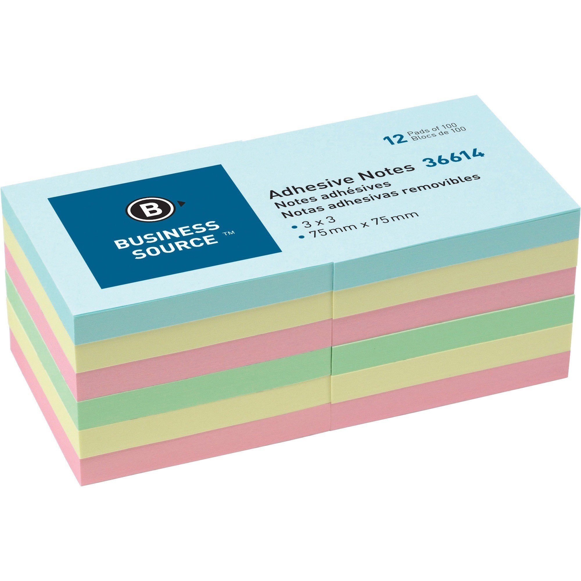 "Business Source Plain Pastel Colors Adhesive Notes 3""x 3"" 12/Pack"