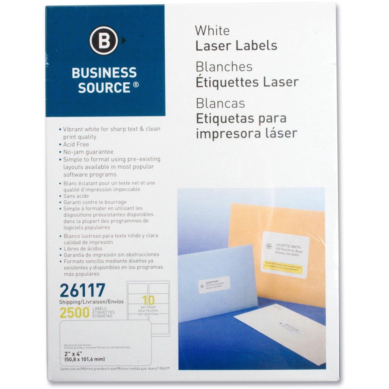 "Business Source Bright White Premium 2"" x 4"" - Shipping Labels - 2500/Box"