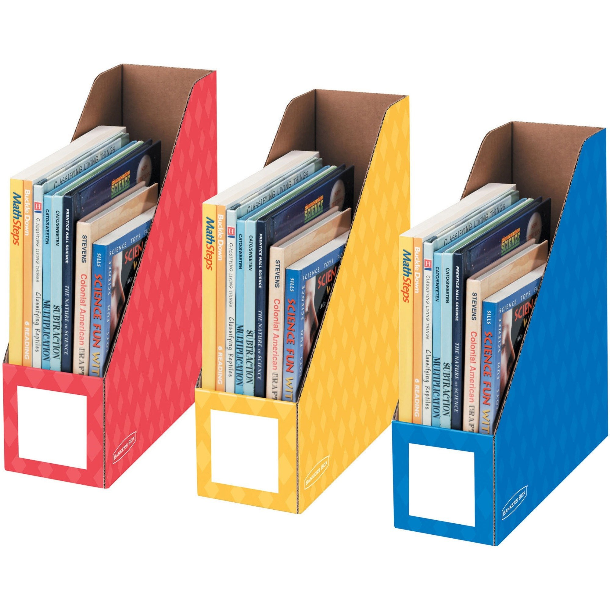 """Fellowes 4"""" Assorted Colours Magazine File Holders - 3/Pack"""