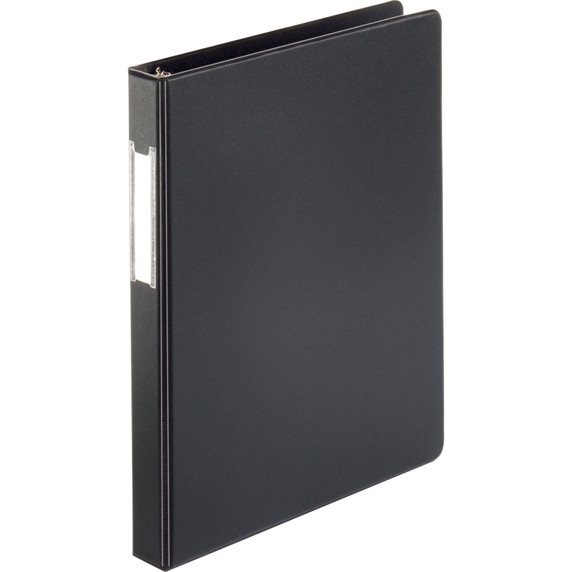 "Business Source Black Basic Round 1"" Ring Binder w/Label Holder, Pockets - Each"