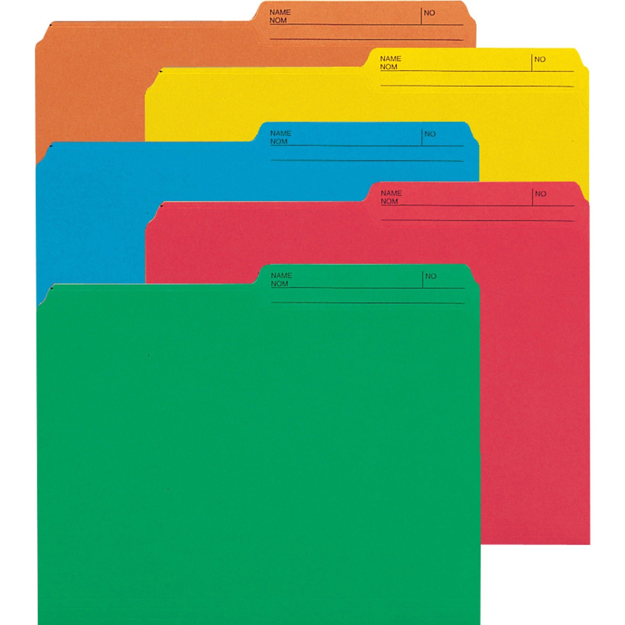 Smead Letter Size File Folder - 1/2 Tab Cut Assorted Colours - 50/Pack