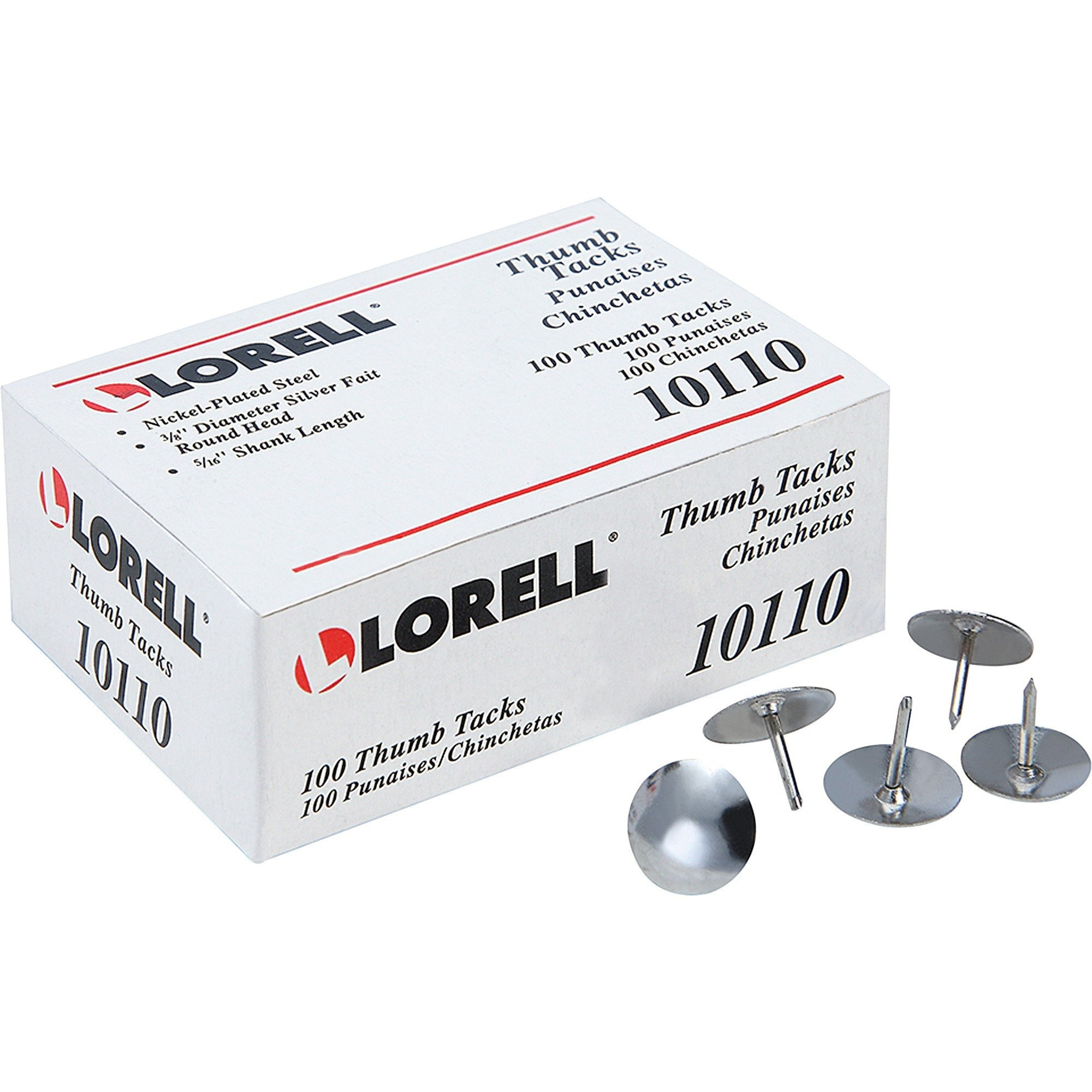 "Lorell 5/16"" Steel Thumb Tacks - 100/Pack"