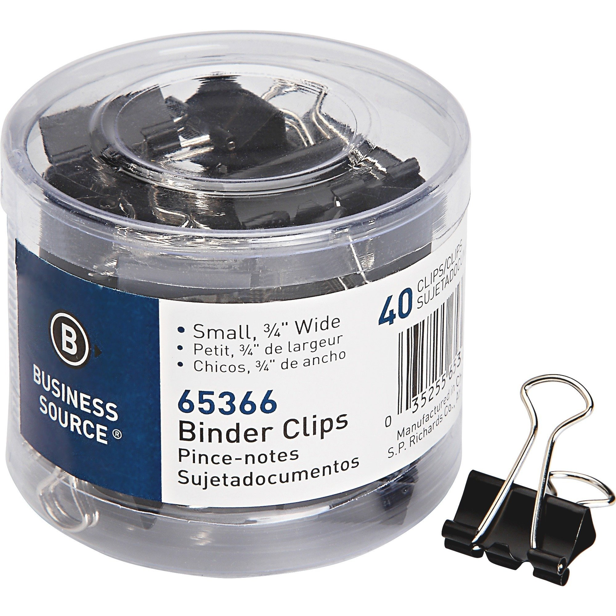 "Business Source Fold-back Binder Clips Small - 0.75"" - Black colour - 40/box"