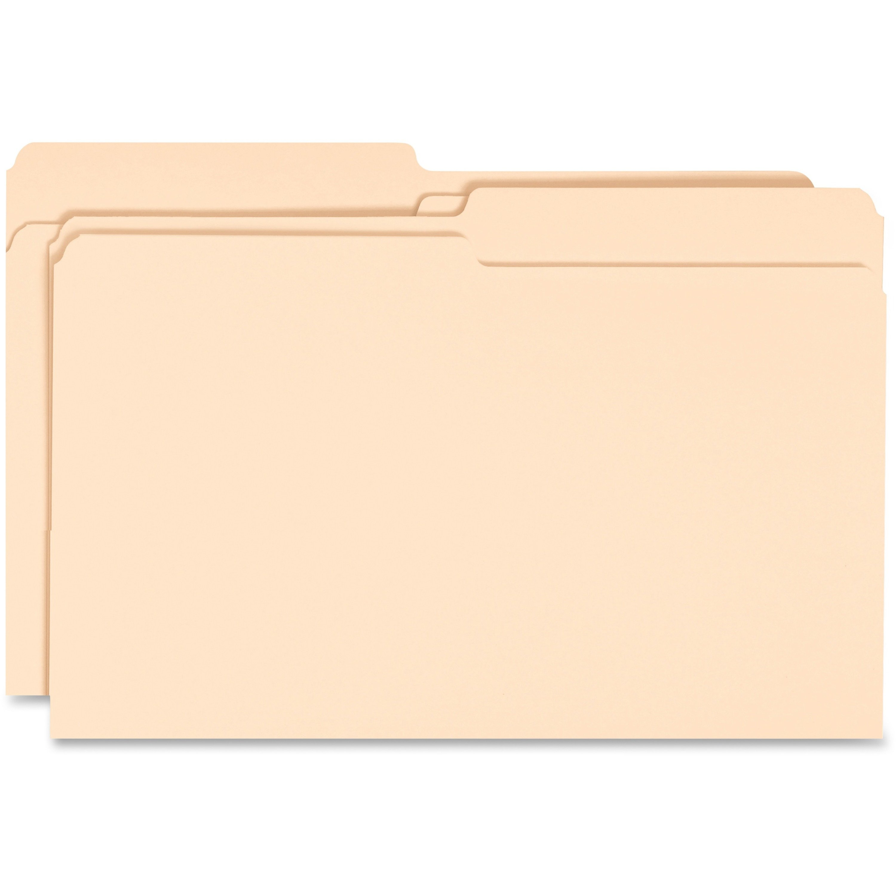 Business Source 1/2 Cut Legal Size Recycled Manila File Folders - 100/Box
