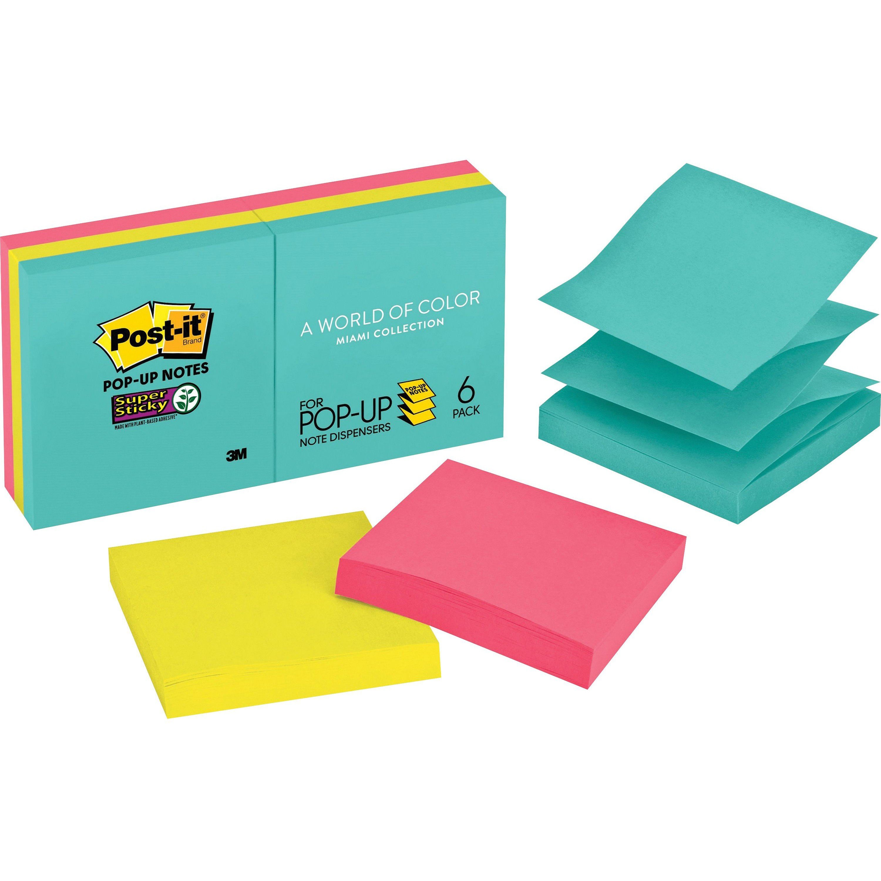 """Post-it® Miami 3""""x 3"""" Super Sticky Pop-up Notes in Dispenser Mode"""