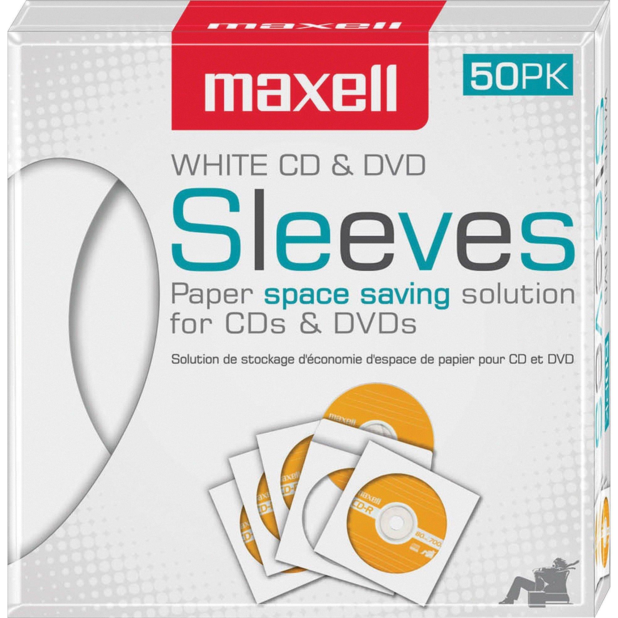 Maxell White CD / DVD Sleeves - 50/Pack