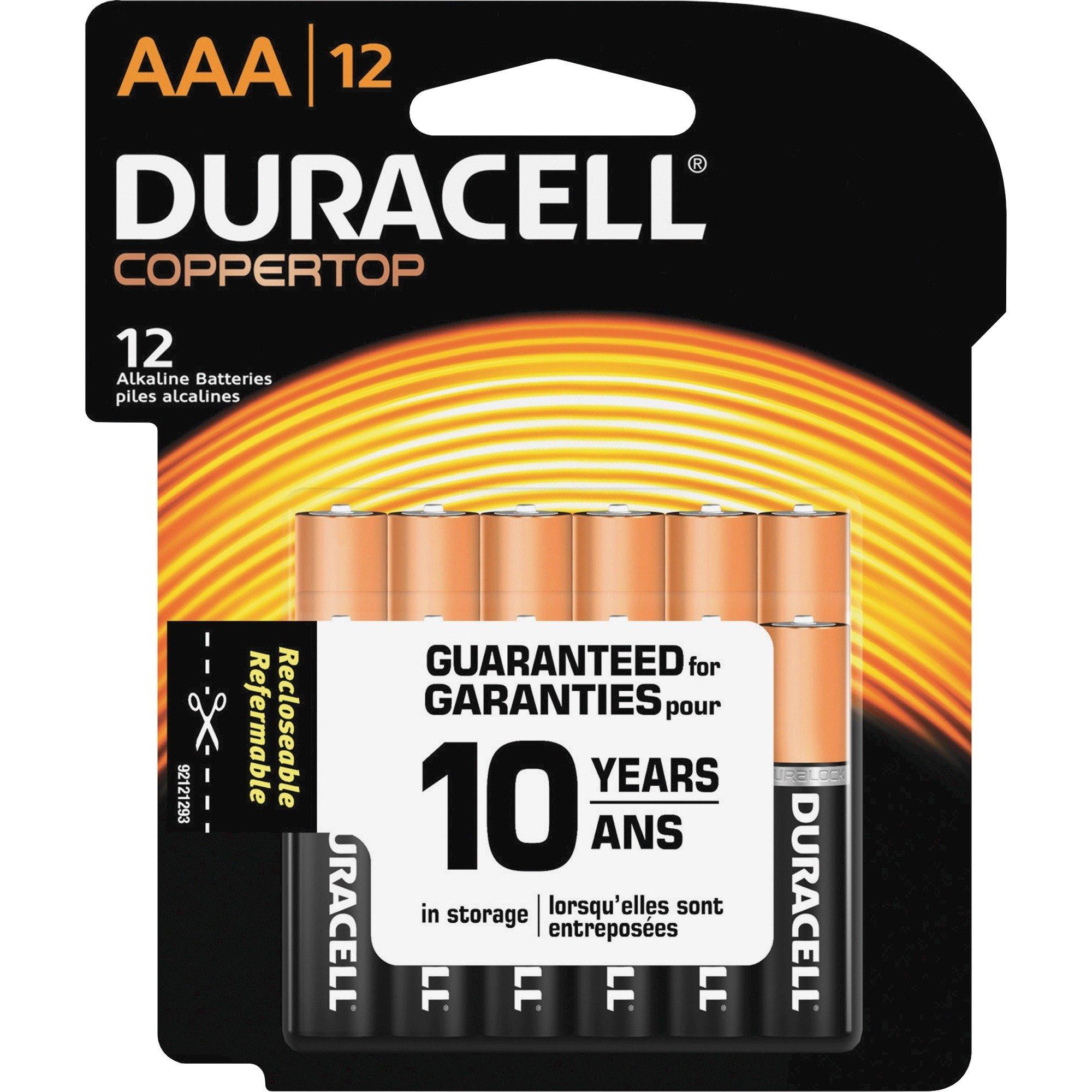 Duracell Coppertop Alkaline AAA Battery - MN2400 - 12/Pack