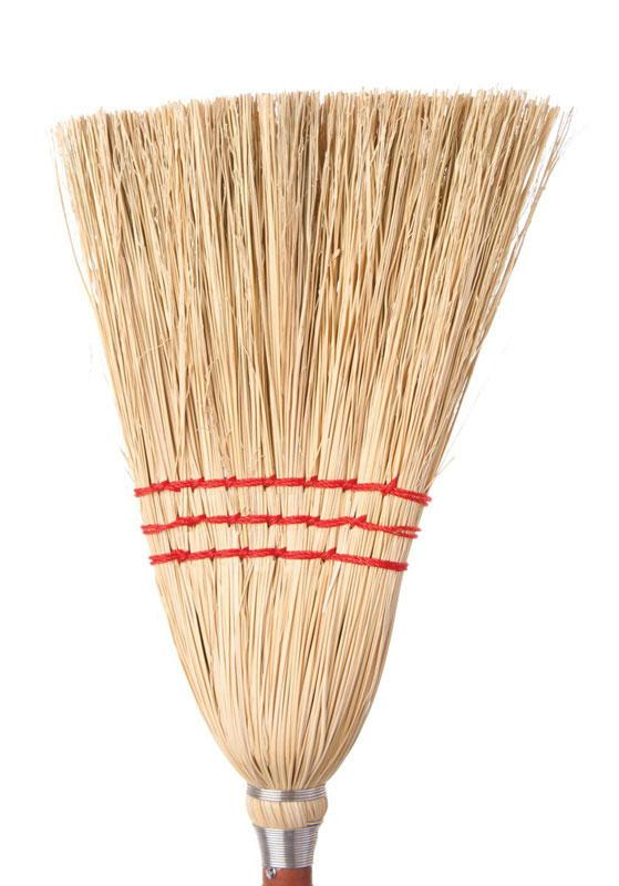 "Corn Broom Light 30"" 3 Strings with Stick - Each"