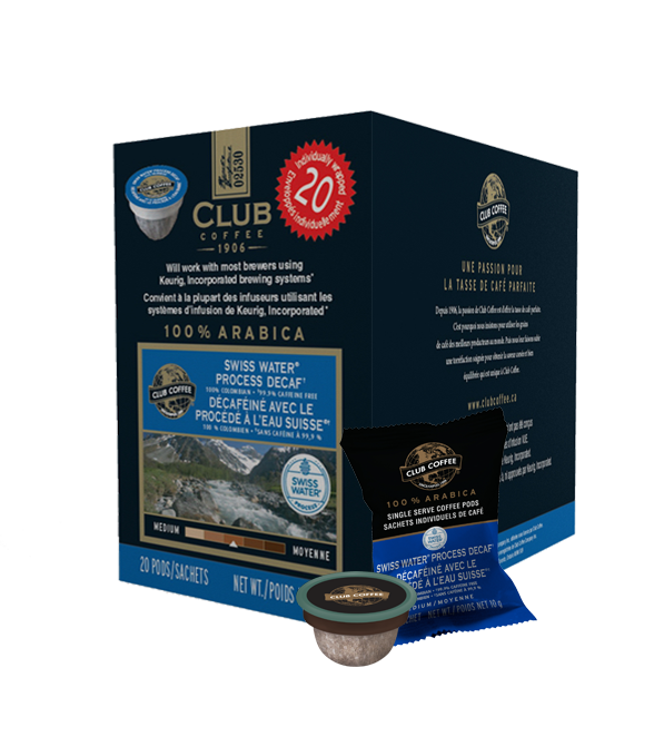 Club Coffee 100% Columbian Swiss Water® Process Decaf Single Serve Coffee (20Pack)