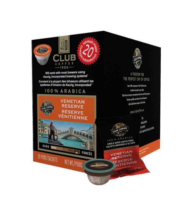 Club Coffee Venetian Reserve Single Serve Coffee (20Pack)