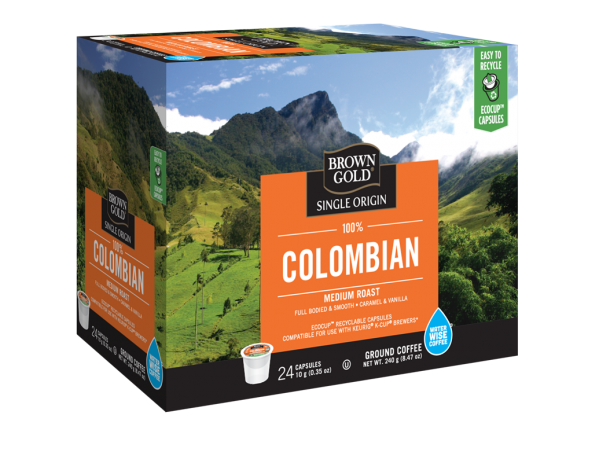 Brown Gold 100% Colombian Single Serve Coffee (24 Pack)