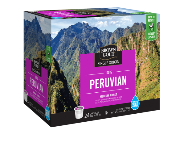 Brown Gold 100% Peruvian Single Serve Coffee (24 Pack)