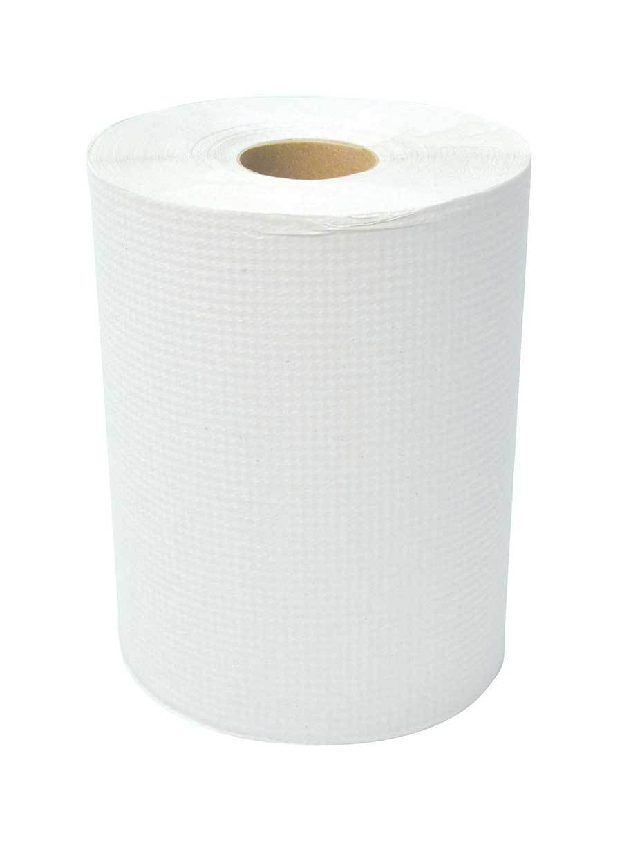 "Dura Plus White Diamond Hand Paper Roll 8"" X 425' - 12 Rolls"