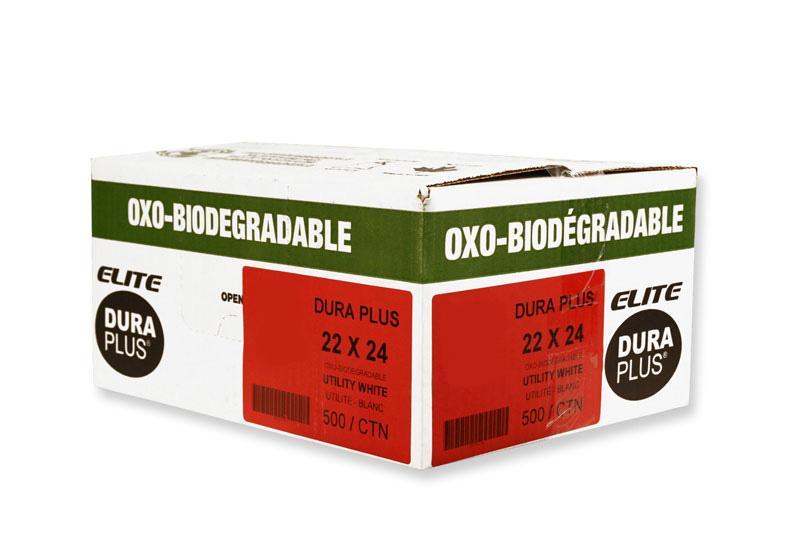 """DURA PLUS Elite 22""""x 24"""" OXO White/Poly Garbage Bags Cs/500 (Utility)"""