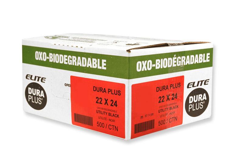 """DURA PLUS Elite 22""""x 24"""" OXO Black Poly. Garbage Bags Cs/500 (Utility)"""