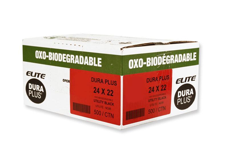 """DURA PLUS Elite 24""""X 22"""" OXO Black/Poly Garbage Bags Cs/500 (Utility)"""
