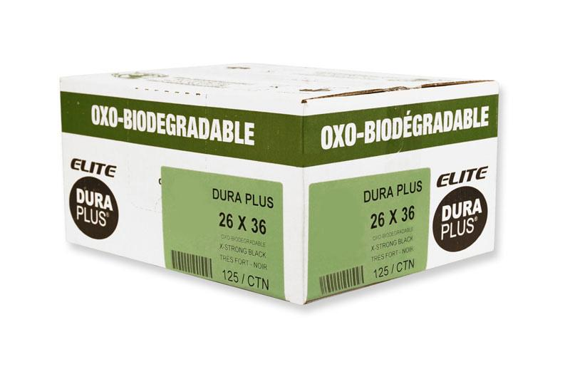 """DURA PLUS Elite 26""""x 36"""" OXO Black Poly. Garbage Bags Cs/125 (Extra Strong)"""