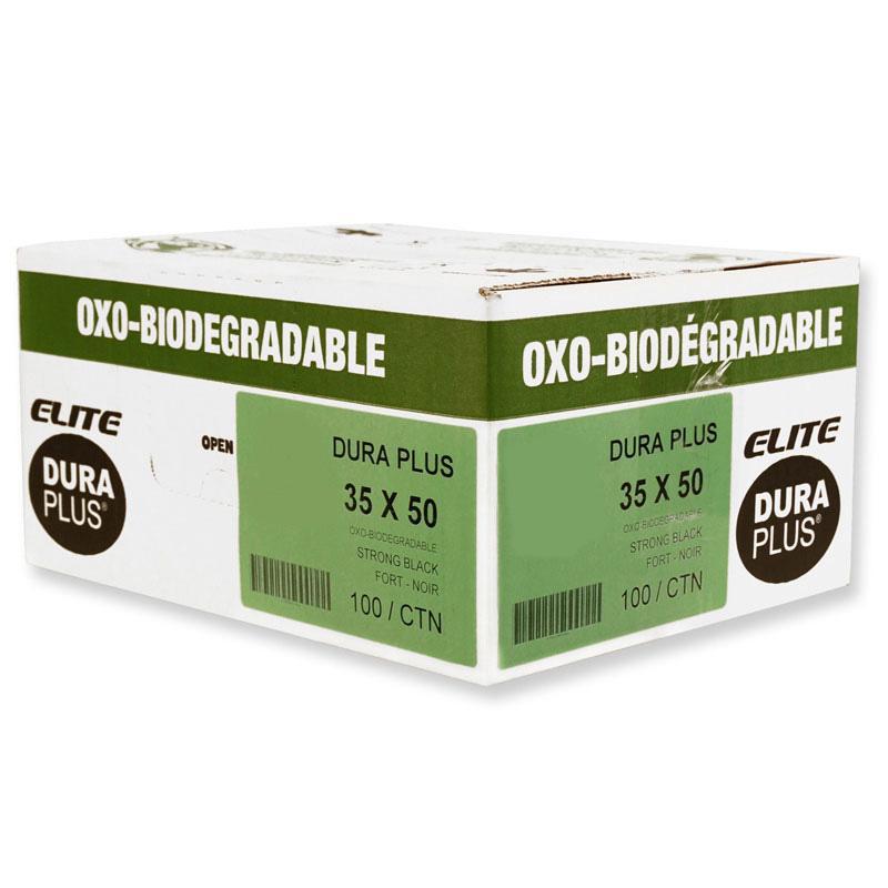 """DURA PLUS Elite 35"""" x 50"""" OXO Black/Poly Garbage Bags Cs/125 (Strong)"""