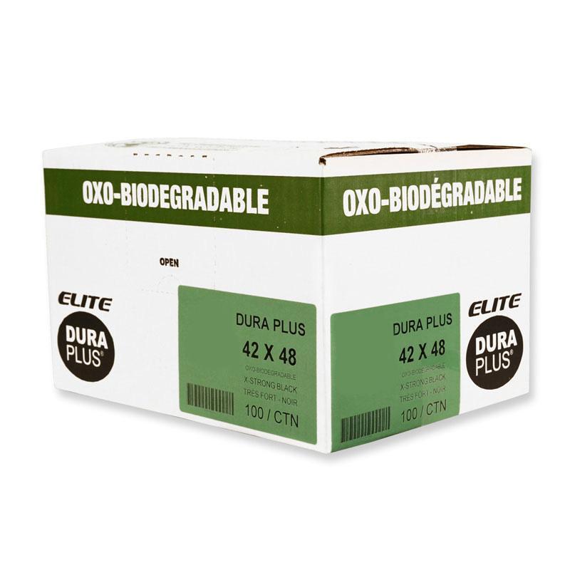 """DURA PLUS Elite 42"""" x 48"""" OXO Black/Poly Garbage Bags Cs/100 (Strong)"""