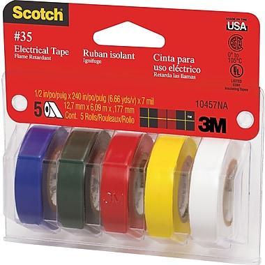 "Scotch #35 Vinyl Electrical Tape, 1/2"" x 6.66 Yds. (12 mm x 6 m) - Assorted"