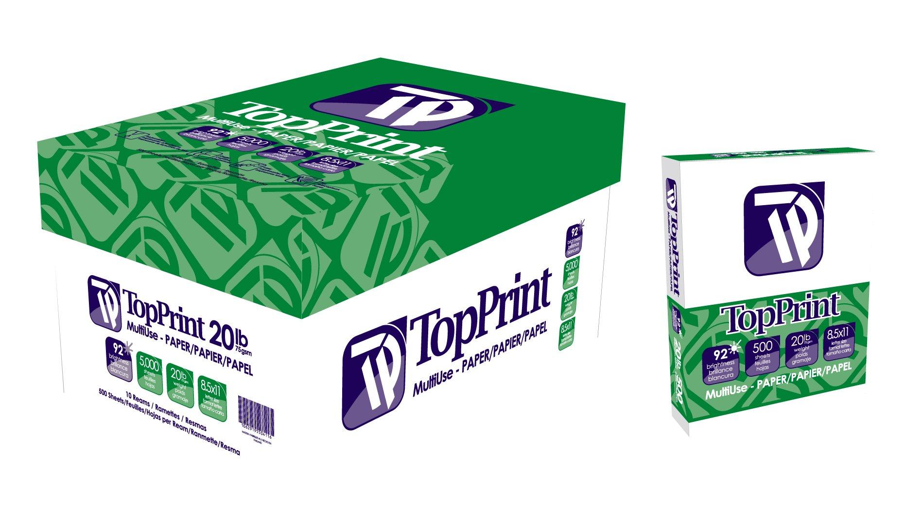 Top Print 92 Bright Premium Copy Paper in Bulk (4+ Cases)