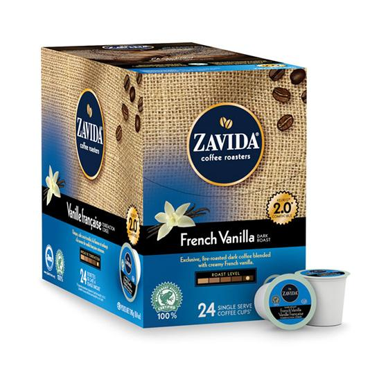 Zavida® French Vanilla Dark Roast Single Serve Coffee Cups (24 Pack)