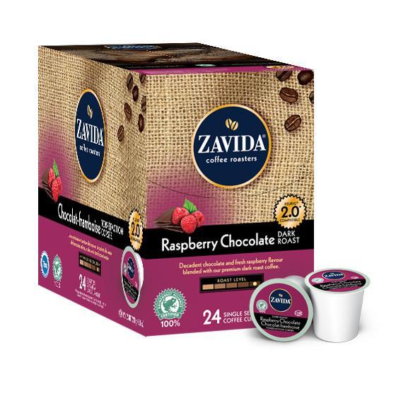Zavida® Raspberry Chocolate Dark Roast Single Serve Coffee Cups (24 Pack)