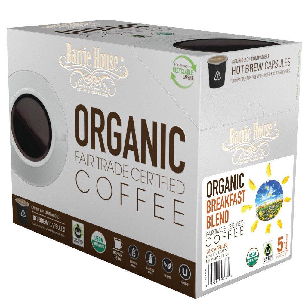 Barrie House Fair Trade Organic Breakfast Blend Single Serve Coffee Cups (24 Pack)