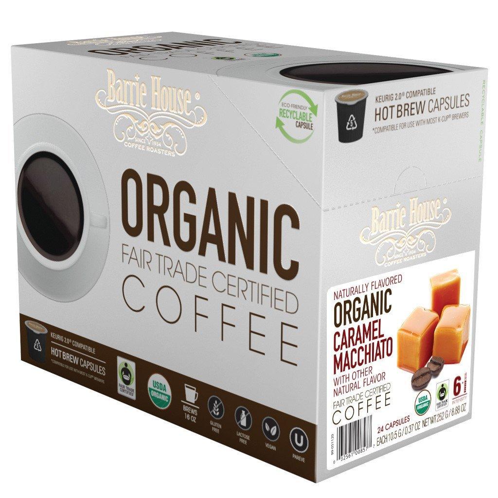 Barrie House Fair Trade Organic Caramel Macchiato Single Serve Coffee Cups (24 Pack)