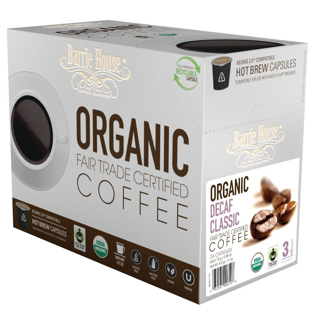 Barrie House Fair Trade Organic Decaf Classic Single Serve Coffee Cups (24 Pack)