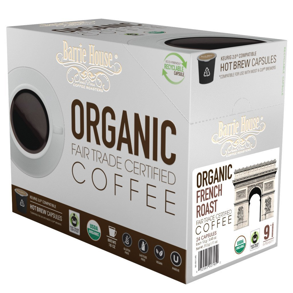 Barrie House Fair Trade Organic French Roast Blend Single Serve Coffee Cups (24 Pack)