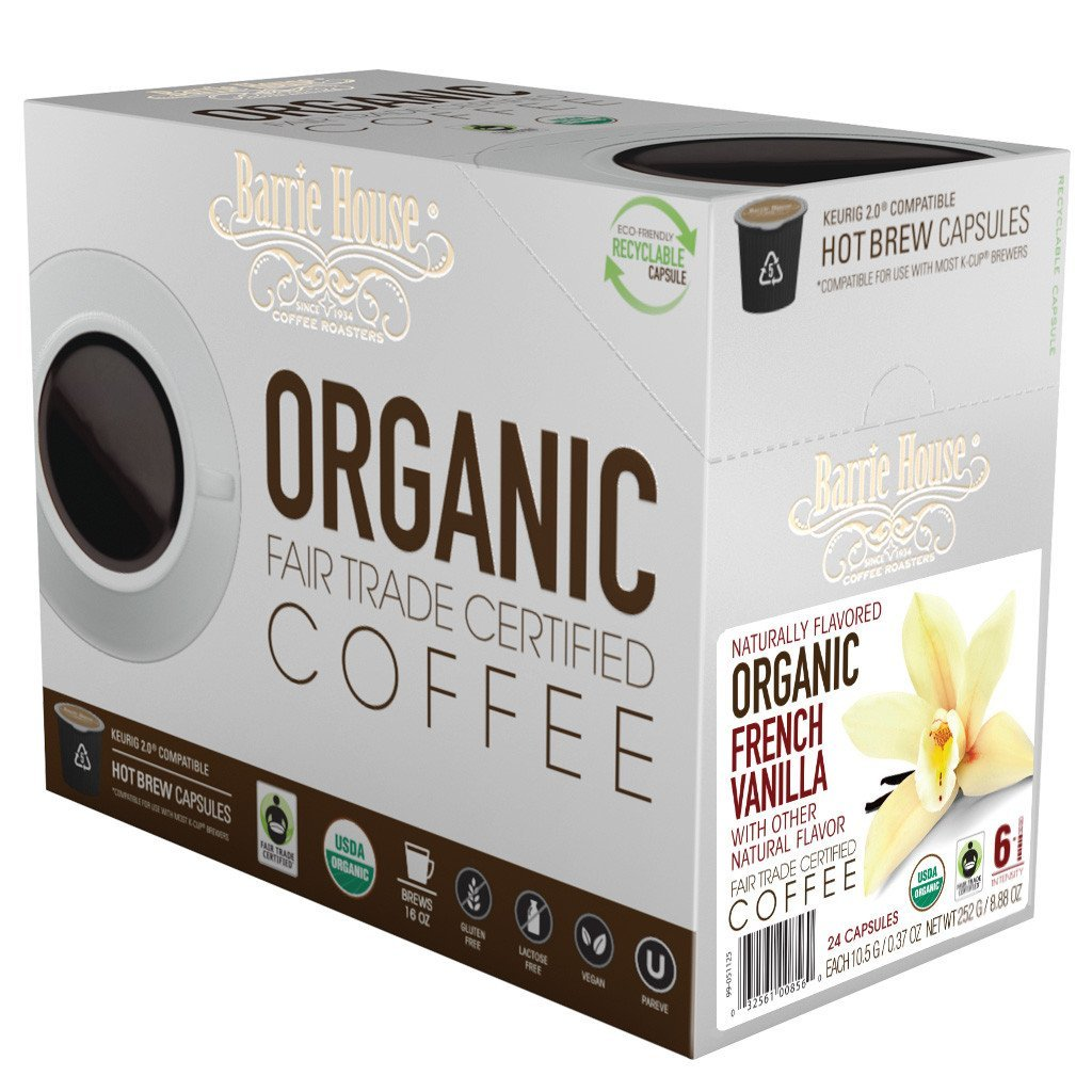 Barrie House Fair Trade Organic French Vanilla Single Serve Coffee Cups (24 Pack)