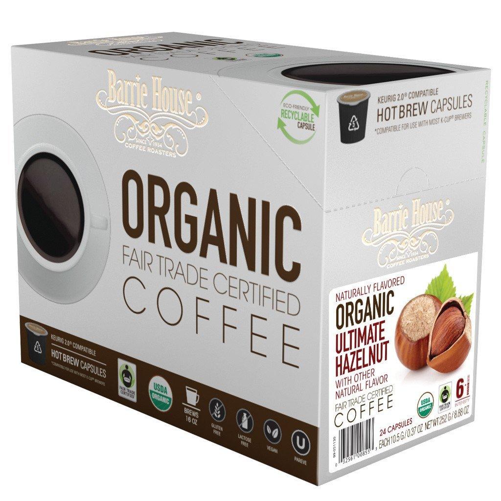 Barrie House Fair Trade Organic Ultimate Hazelnut Single Serve Coffee Cups (24 Pack)